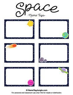 Free printable space name tags. The template can also be used for creating items like labels and place cards. Download the PDF at http://nametagjungle.com/name-tag/space/