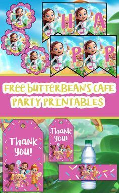 Free Butterbean S Cafe Birthday Party Printable Files Banner Invitations Cupcak In 2020 Birthday Party Printables Free Party Printables Birthday Party Printables
