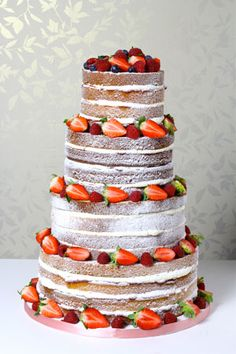 """Berry"" cake by Le Papillon Patisserie Amazing Wedding Cakes, Amazing Cakes, Cake Wedding, Wedding Pins, Wedding Flowers, Bolos Naked Cake, Alternative Wedding Cakes, Dad Cake, Strawberry Cakes"