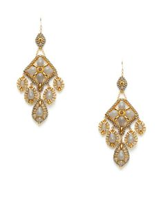 Miguel Ases Gold & Grey Bead Multi-Drop Chandelier Earrings. ($200.)