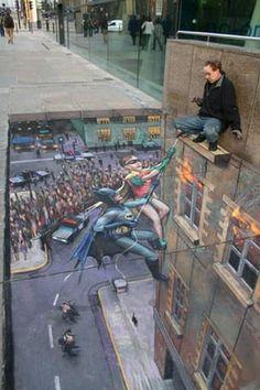 Great work of Art. Let's hope he won't break his neck.