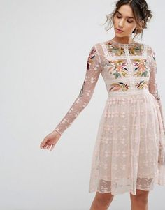 Absolutely amazing  Frock   Frill Floral Embroidered Skater Mini Dress With  Lace Trim Asos Lace af90d8c8c