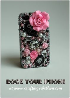 Rock Your iPhone....bling up your iPhone case.  Cool idea for a teen girl. I wouldn't do it this girly! but its giving me an idea to cowgirl up my ipod case :)