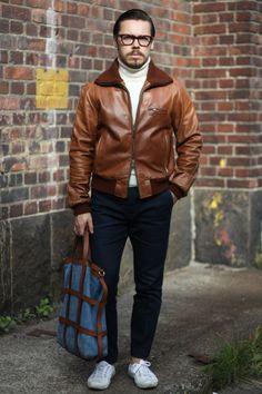 http://dev.dresslikea.com/wp-content/uploads/2015/09/Brown-leather-jacket-with-dark-blue-denim.jpg