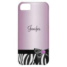 customized Elegant pink zebra animal print iPhone 5 case