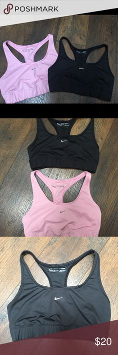 GIRLS Nike Dri Fit Sports Bras (lot of 2) Two Girls Nike Dri Fit Sports Bras in colors black and pink. They are super cute and both in great condition!  The pink has some crinkles in writing and on the swoosh as pictured but is in otherwise great condition.  The black is in great condition besides a small white line down the back of the inside (you can see it it the photo if you zoom in). Nike Other