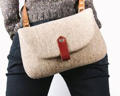 Felt Bag/ Brown wool felt cross body bag/ Street fashion/ Unique felted wool and leather cross body bag/ Slow fashion by Onstail