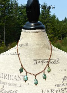 Green turquoise teardrop stones and copper necklace.  McKee Jewelry Designs, Andria McKee. boho, bohemian, handmade jewelry.