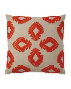 Beautifully embroidered on both sides, this simple floral design is stitched onto a rich chunky linen – an artful ode to the vintage Mexican textile that inspired it. Such a gorgeous pillow to add to your mix.