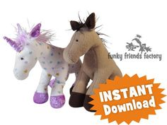 Horsey Horse & Unicorn Toy Sewing Pattern INSTANT DOWNLOAD