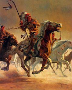 Native American Warriors On Horse | ... : Western > Artist: Mort Kunstler > Title: Brave Warrior WE129 $85
