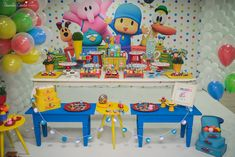 Pocoyo Birthday Theme 1st Birthday Party Themes, Baby 1st Birthday, Birthday Party Decorations, Birthdays, Crafts, Caye, Snack Tables, 1 Year, Gabriel
