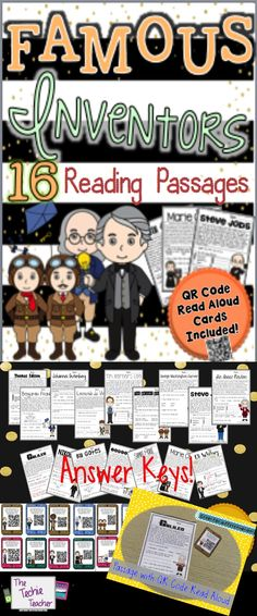 16 different reading passages about new and old INVENTORS. QR Codes read aloud the passages! Close Reading, Kids Reading, Guided Reading, Reading Passages, Reading Comprehension, Invention Convention, Jackson School, Third Grade Science, Fourth Grade