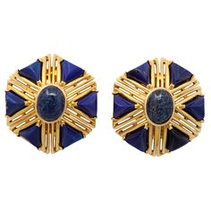 View this item and discover similar for sale at - Tiffany & Co. gold openwork ear clips set with carved lapis, of deep blue character with gold flecks. Tiffany and gold marks. Tiffany Jewelry, Gold Jewelry, Fine Jewelry, Jewellery, Stone Earrings, Clip On Earrings, Lapis Lazuli Jewelry, Blue Gold, Dark Blue