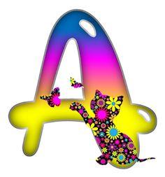 Fancy Alphabet: MULTI COLOR CAT ALPHABET .