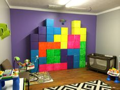 theme Tetris Room for an arcade theme! Game Themes, Party Themes, Sunday School Decorations, Sports Theme Classroom, 90s Theme, Retro Arcade, Retro Party, Party Props, Room Themes