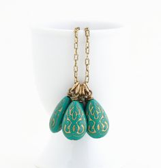 Turquoise Necklace Gold Etched Vintage Beads by JacarandaDesigns, $28.00