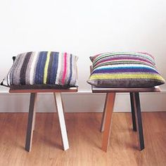 DIY Crochet DIY Yarn: DIY Crochet two striped cushions