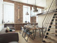 Loft con suelo de madera. Decoración de apartamentos tipo loft