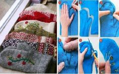 How To DIY Mittens from Old Sweaters