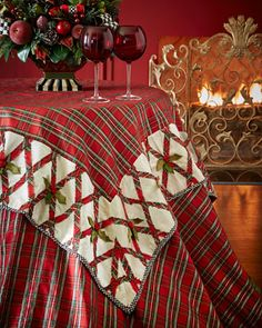 Tartan Yuletide Table Topper by MacKenzie-Childs at Horchow.