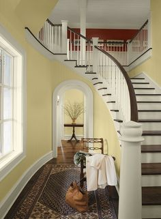 Benjamin Moore's yellow paint color combination for hallways and entryways Concord Ivory HC-12 Walls Strawberry Field 2088-30 upstairs