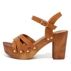 Wood Be Nice Camel Platform Heels ($26) ❤ liked on Polyvore featuring shoes, sandals, brown, studded sandals, qupid sandals, brown shoes, brown platform sandals and brown sandals