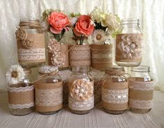 10x rustic burlap and lace covered mason jar vases wedding decoration, bridal shower, engagement, anniversary party decor by PinKyJubb on Etsy
