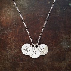 Sterling silver initials from BAKKA jewelry Family Necklace, Initial Necklace, Name Jewelry, Initials, Sterling Silver, Instagram Posts