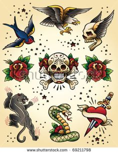 Swallow Tattoos – Exploring the Symbolic Meaning of Swallow Tattoo Designs Tattoo American Traditional, Traditional Tattoo Flash, Traditional Tattoo Old School, Traditional Styles, Flash Art Tattoos, Kunst Tattoos, Tattoo Drawings, Tattoo Illustrations, Vintage Illustrations