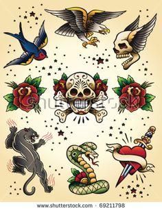 Tattoo Flash Vector Elements Set Tigre Old School, Pantera Old School, Tattoo Flash Art, Clipart, Traditional Tattoo Cross, Traditional Tattoos, Traditional Tattoo Design, Traditionelles Tattoo, Tattoo Main