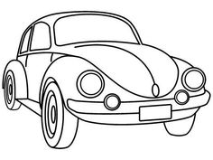 "Classic VW Beetle coloring page. Remember Herbie in ""The Love Bug""?  http://www.coloringpages4u.com/car_coloringpages"