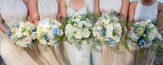 Summer Bridal Bouquets. #weddingbouquet #somethingblue #bouquetvines #pinkflowers #peachflowers #whiteflowers #creamflowers #blueflowers #summerbouquet #bridesmaidbouquet #freshbouquet #uniquebridalbouquet
