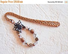 Butterfly Copper Bookmark, Beaded Butterfly Bookmark, Copper Bookmark, Page Marker, Unique Gift Idea, Gift for Her, Book Accessories https://www.etsy.com/listing/227810699/butterfly-copper-bookmark-beaded