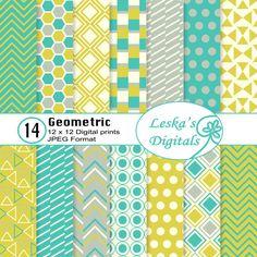 #geometric #digitalscrapbooking #geometricpattern Bright colors geometric digital scrapbooking design