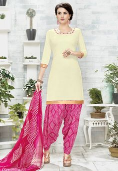 96e3adaa93 Poly Cotton Punjabi Suit in Cream This Unstitched Outfit is Gracefully  Enhanced with Abstract Print and