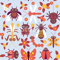 insects Spider butterfly caterpillar dragonfly beetle wasp ladybugs seamless pattern Royalty Free Stock Vector Art Illustration