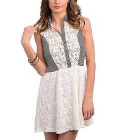 Love this Ivory & Black Daisy Lace Button-Up Dress by Buy in America on #zulily! #zulilyfinds