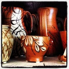 Kyle Carpenter's pots waiting to be unloaded from the salt kiln.--Asheville, NC
