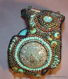 Shades of Turquoise  Bead Embroidery Cuff Bracelet  by 4uidzne