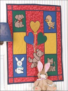 This free quilting pattern for babies and kids will delight and intrigue your favorite little one. The animal designs make perfect applique shapes for a kids quilt! Finished Quilt Size: 20 x 25 Skill Level: Intermediate Free Baby Quilt Patterns, Patchwork Quilt Patterns, Hexagon Quilt, Applique Quilts, Quilting Patterns, Applique Patterns, Free Pattern, Quilting Projects, Quilting Designs