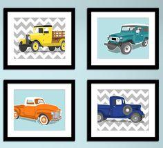 Vintage Truck wall art  retro truck prints  set of by PaperLlamas, $45.00
