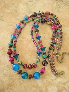 Bohemian Necklace Junk Gypsy Colorful Jewelry Free by BohoStyleMe