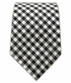 "100% Cotton Black New Gingham Plaid 2 1/2"" Skinny Tie"