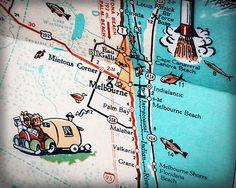Melbourne beach Palm Bay Indialantic retro by RetroSeaShoreDecor, $25.00
