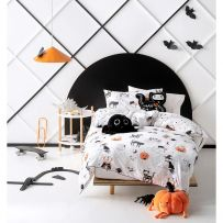 Hiccups Scaredy Cat White Single Quilt Cover Set