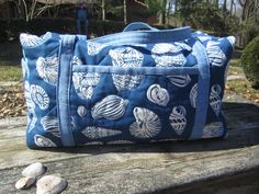 """Quilted Duffle Bag Blue """"Sea Shells"""" by ISewTotes on Etsy"""