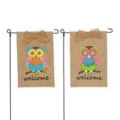 Burlap Owl Welcome Flag Sets