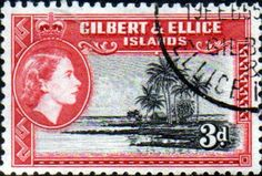 Gilbert and Ellice Islands 1956 SG 68 Seascape Fine Used Scott 65 Other Gilbert Island Stamps HERE Ellice Islands, Gilbert Islands, Stamp Dealers, Buy Stamps, King George, Commonwealth, Queen Elizabeth, Postage Stamps, Empire