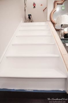 INCREDIBLE stair makeover with PAINT! SO much cheaper than stain or new stairs! If you can hold a paintbrush, you can easily learn how to paint stairs! Interior Color Schemes, Yellow Interior, Interior Paint Colors, Interior Painting, Behr, Dark Interiors, Colorful Interiors, Stairs Painted White, Porch And Patio Paint